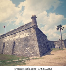 Castillo de San Marcos in St. Augustine, Florida, USA with retro effect