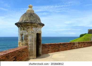 Castillo San Felipe del Morro El Morro Sentry Box, San Juan, Puerto Rico. Castillo San Felipe del Morro is designated as UNESCO World Heritage Site since 1983.