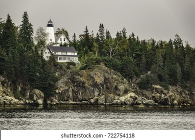 CASTINE, MAINE/USA - SEPTEMBER 18, 2017: Dice Head Light, built in 1829 and deactivated in 1937, marks the entrance to the Penobscot River. It is listed on the National Register of Historic Places.