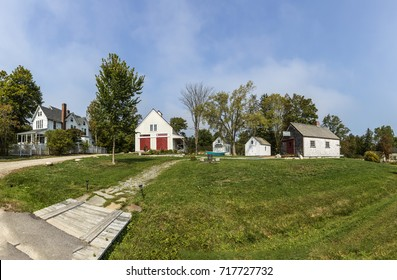 CASTINE, USA - SEP 17, 2017: beautiful houses in victorian style in Castine, USA. In the 1630s the French built a fort here, 1779 the British Royal Navy sent  troops  and overtook the town.