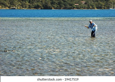 Casting for bonefish on the Honduran Island of Roatan. Here is a guide casting towards a shoal of bonefish using a sidecast to reduce the overall profile to avoid spooking the fish.