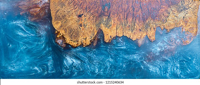 casting epoxy resin Stabilizing burl wood blue abstract background