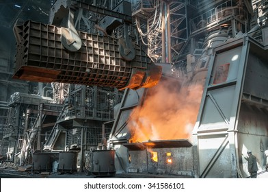 casting ladle and furnice at steel plant