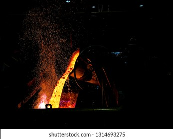 Casting molten copper into a furnace