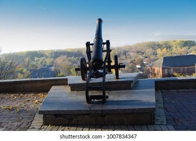 Cast-iron cannon on the ancient hills in Chernihiv, Ukraine