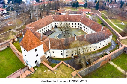 Castle from above in Sarvar Hungary - autumn landscape.