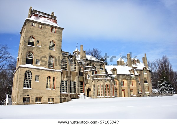 A castle after a snowfall