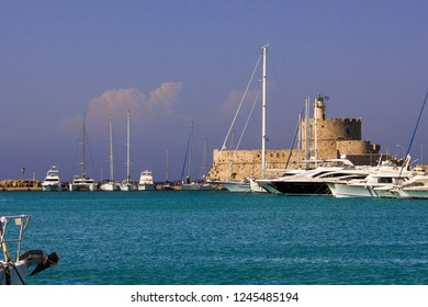 Castle Agios Nikolaos at Mandraki-Port in Rhodes