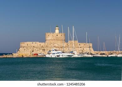 Castle Agios Nikolaos as port entrance of historic Mandraki-Port in Rhodes-City