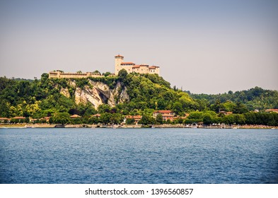 Castle of Angera on top of a hill on the shore of Lake Maggiore