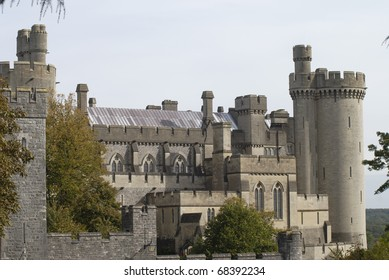 Castle at Arundel. West Sussex. England. Close up of walls and towers.