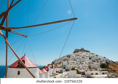 The Castle of Astypalaia and a row of windmills in front, Dodecanese, Greece