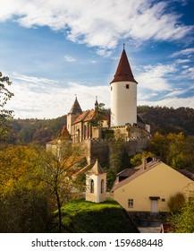 Castle in autumn landscape (Krivoklat, Central Europe)