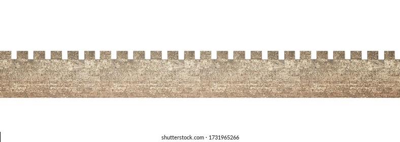 Castle battlement isolated on white background