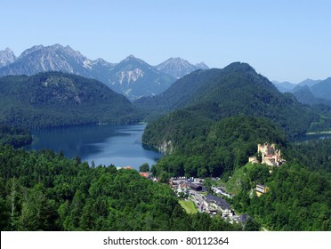 Castle in Bavarian Alps, Germany, Europe