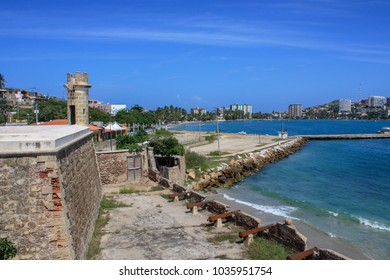 Castle with beach in isla margarita