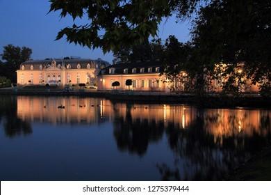 Castle Benrath in Dusseldorf in evening mood
