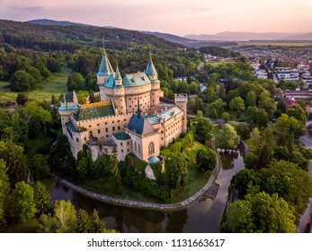 Castle Bojnice, central Europe, Slovakia. UNESCO. Sunset light.