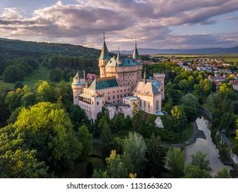 Castle Bojnice, central Europe, Slovakia. UNESCO. Sunset light.