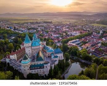 Castle Bojnice, central Europe, Slovakia. UNESCO. Aerial view.