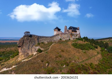Castle of Boldogko in Hungary. Medival fort in Zemplen mountins in clean panoramic landscape. Famous tourist attraction in north Hungary.