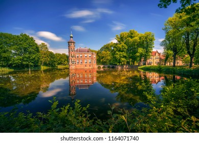 Castle Bouvigne and the surrounding park with reflection in water situated near the Dutch city of Breda in Netherlands. Long exposure.