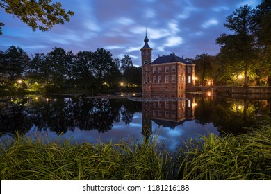 Castle Bouvigne and the surrounding park with reflection in water situated near the Dutch city of Breda in Netherlands