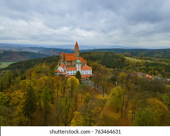 Castle Bouzov in Czech Republic - aerial view - travel and architecture background