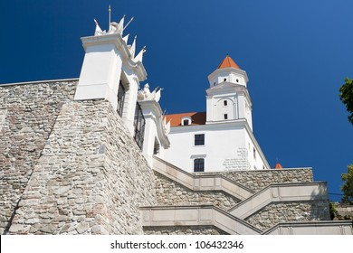Castle of Bratislava on top of the hill with gate