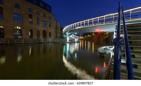 Castle Bridge A by night Bristol England, new bridge between Castle Park and Finzels Reach, opened in 2017