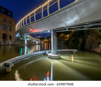 Castle Bridge C by night Bristol England, new bridge between Castle Park and Finzels Reach, opened in 2017