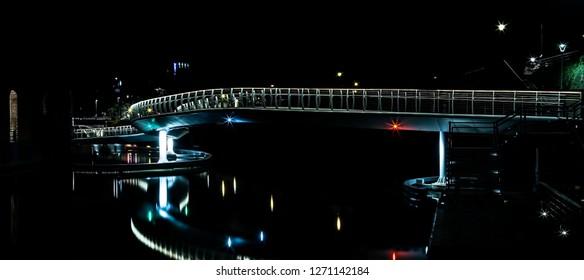 Castle Bridge at Finzels Reach in Bristol city centre by night