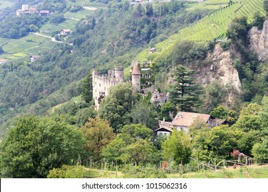Castle Brunnenburg and mountain panorama in Tirol, South Tyrol