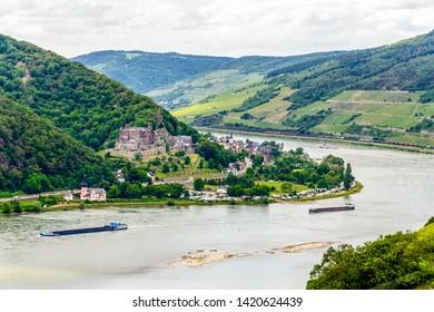Castle Burg Reichenstein on the Middle Rhine river valley (Mittelrhein)  nearby Rudesheim am Rhein, Bingen. Assmanshausen, Hessen, Germany. Unesco