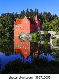 castle Cervena Lhota mirroring in the castle lake in South Bohemia Czech republic