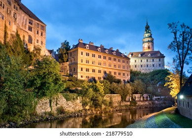 Castle of Cesky Krumlov by night, Bohemia, Czech Republic