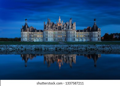 The castle of Chambord at sunset, Castle of the Loire, France  Chateau de Chambord, the largest castle in the Loire Valley. A UNESCO world heritage site in France