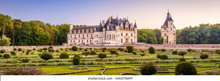 Castle or chateau de Chenonceau, France. This Renaissance castle is one of the main landmarks in France. Scenic panoramic view of the castle with beautiful garden. Scenery of French castle in summer.