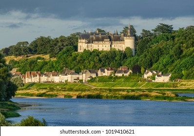 The castle of Chaumont sur Loire 29 June 2017 20:16 Loire Valley, France. Photo taken from the opposite bank of the river Loire by placing itself on the right of the castle.
