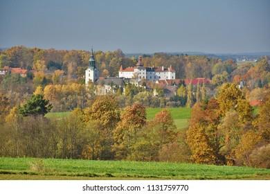 Castle and church in Dobersberg, Lower Austria, in fall.