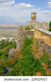 Castle and the Clock Tower of Gjirokaster, erected by Ali Pasha of Tepelena in the early 19th century. Gjirokaster is a city in southern Albania.World Heritage Site by UNESCO