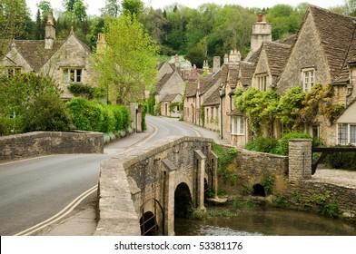 Castle Combe in rural Wiltshire , England.