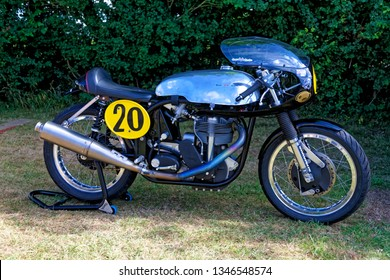 Castle Combe, Wiltshire, UK - July 09 2017: A 1961 Ecurie Sportive Norton 500 racing motorcycle