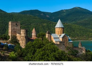 Castle complex with church on Aragvi river, Ananuri, Georgia.