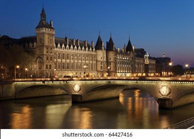 Castle Conciergerie and bridge of Change,  Paris, France