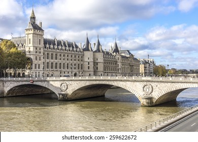 Castle Conciergerie - former royal palace and prison. Conciergerie located on the west of the Cite Island and today it is part of larger complex known as Palais de Justice. Paris, France.