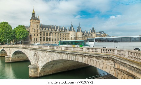 Castle Conciergerie timelapse - former royal palace and prison. Bridge to Change. Conciergerie located on the west of the Cite Island and today it is part of larger complex known as Palais de Justice