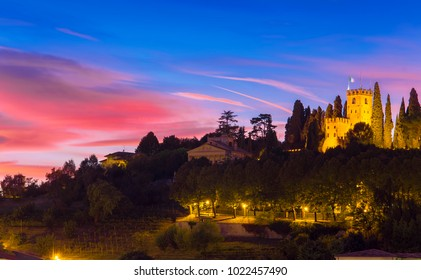 castle of Conegliano at night, after sunset scene. Italy