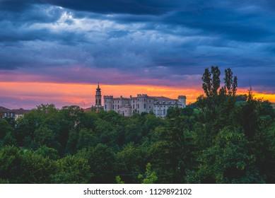Castle of Costigliole d'Asti (Piedmont - Italy). Sunset light