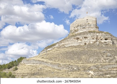 Castle of Curiel de Duero, fortified building located on a rocky hill in the province of Valladolid, Castile and Leon, Spain.